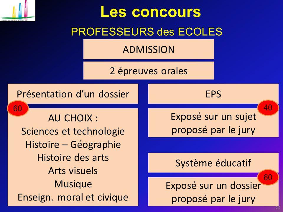 Les concours PROFESSEURS des ECOLES ADMISSION 2 épreuves orales
