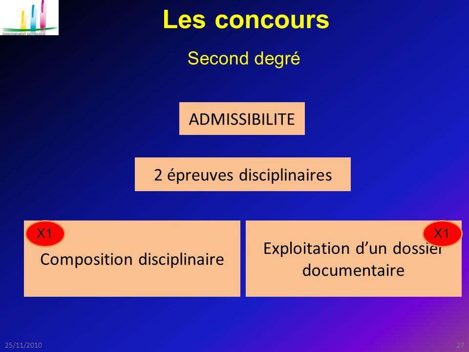 Les concours Second degré ADMISSIBILITE 2 épreuves disciplinaires