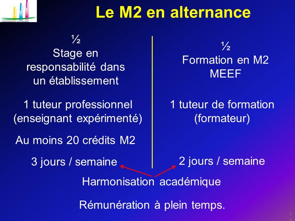 Le M2 en alternance ½ ½ Stage en responsabilité dans un établissement