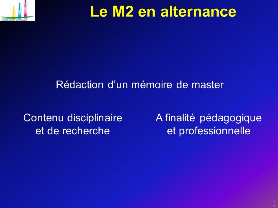 Le M2 en alternance Rédaction d'un mémoire de master