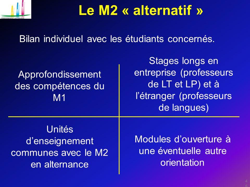Le M2 « alternatif » Bilan individuel avec les étudiants concernés.
