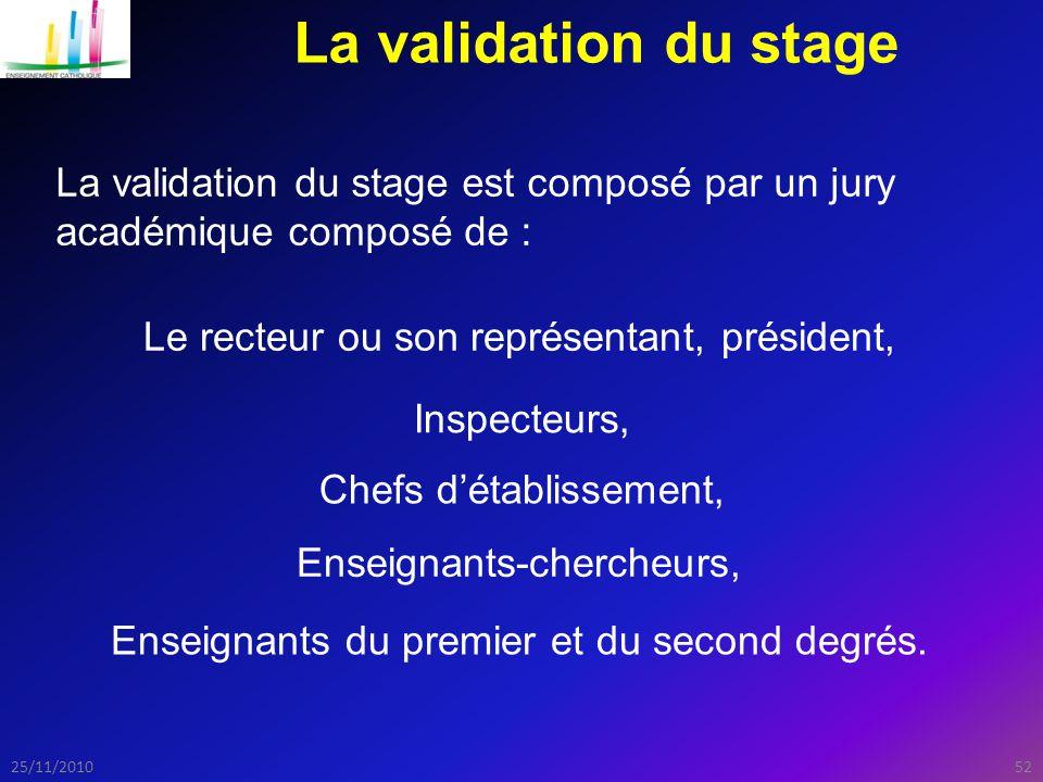 La validation du stage La validation du stage est composé par un jury académique composé de : Le recteur ou son représentant, président,