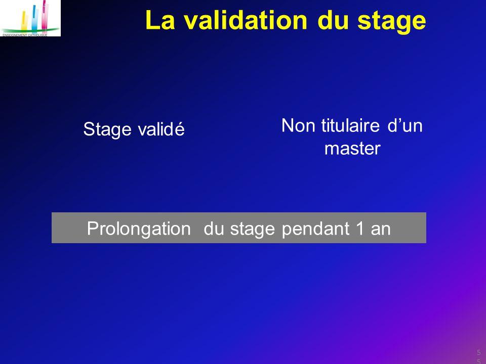 La validation du stage Stage validé Non titulaire d'un master