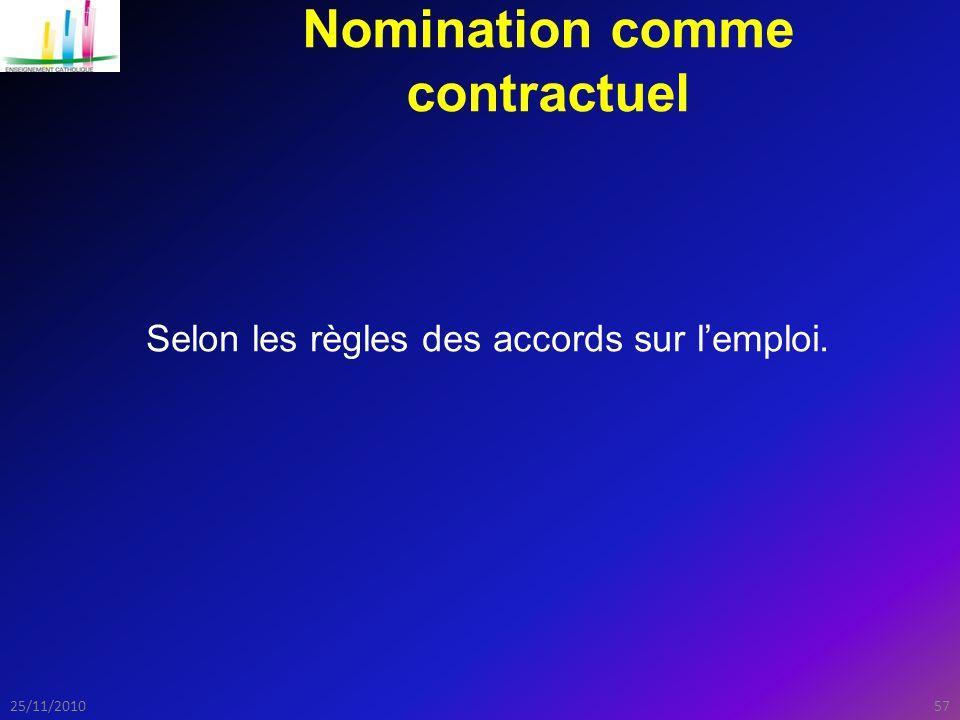 Nomination comme contractuel