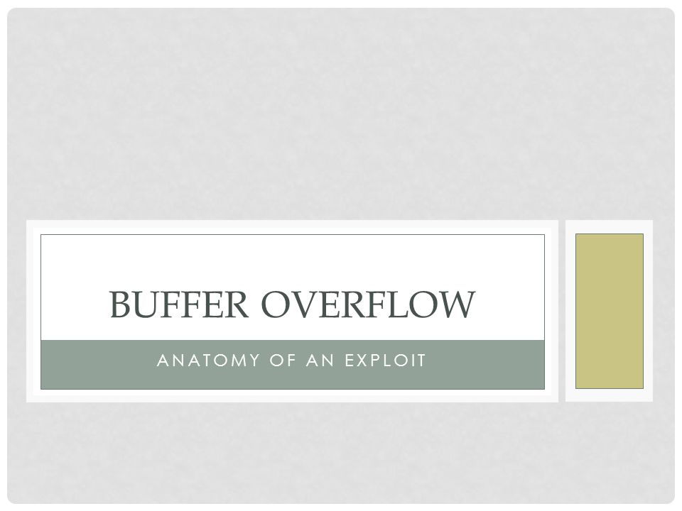 Buffer Overflow Anatomy of an exploit