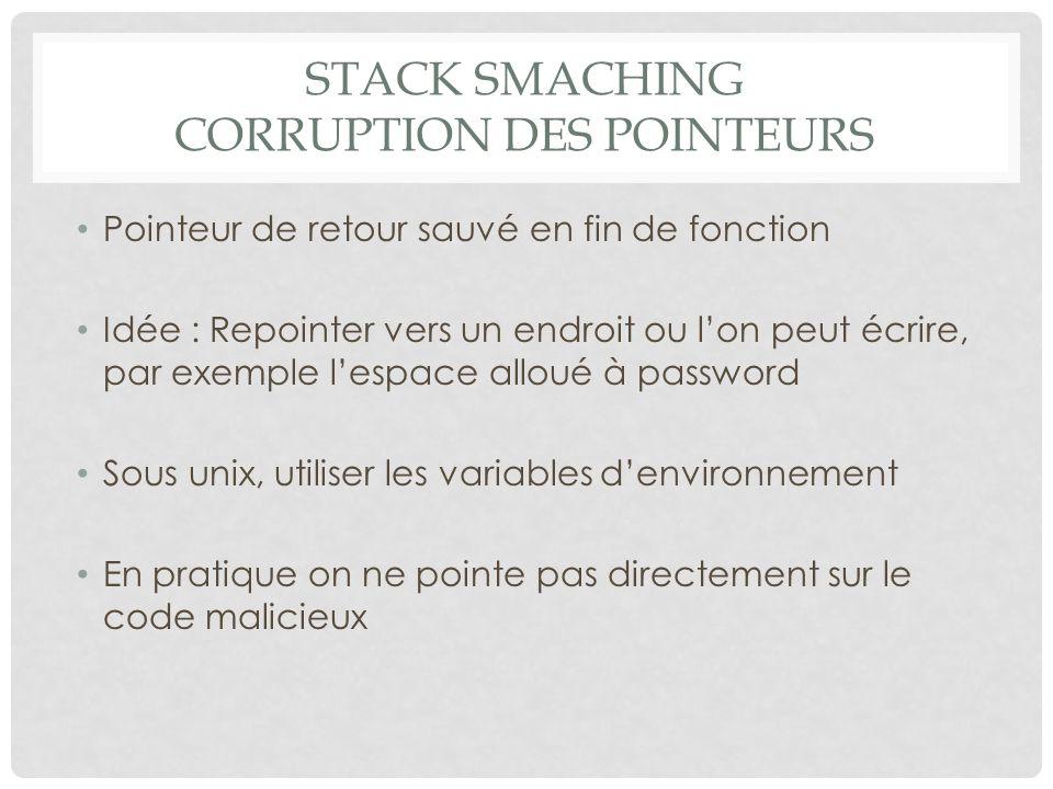 Stack Smaching Corruption des pointeurs