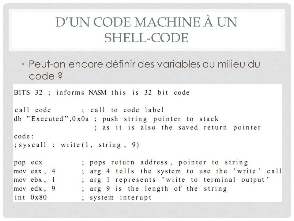 D'un code machine à un shell-code