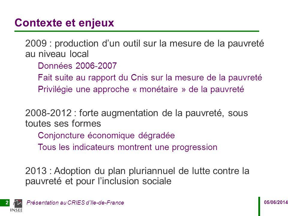 Contexte et enjeux 2009 : production d'un outil sur la mesure de la pauvreté au niveau local. Données 2006-2007.