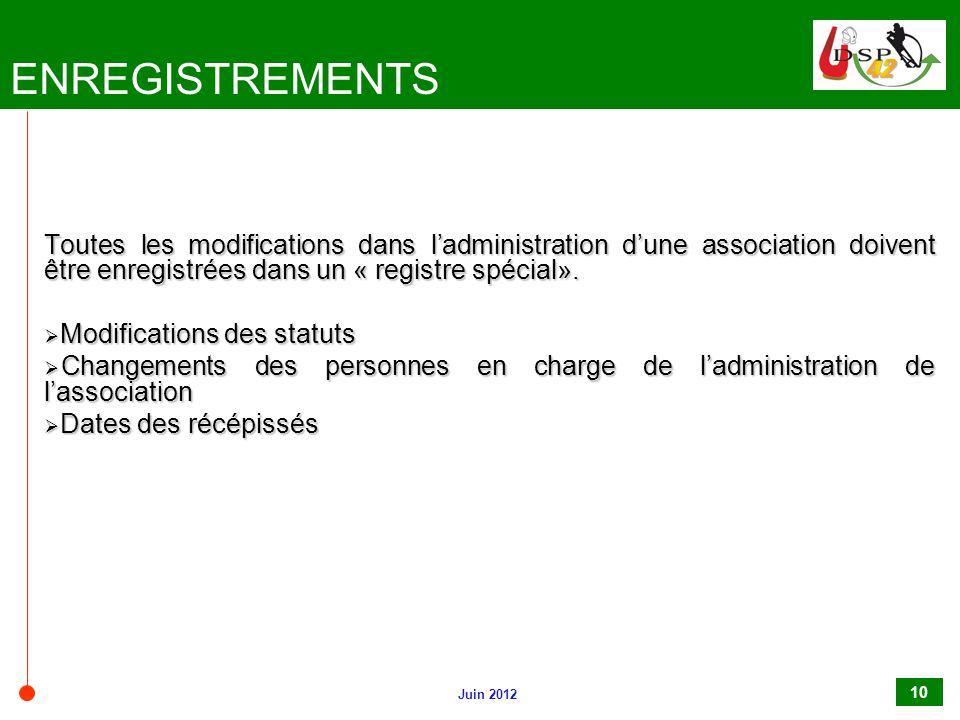 ENREGISTREMENTS Toutes les modifications dans l'administration d'une association doivent être enregistrées dans un « registre spécial».