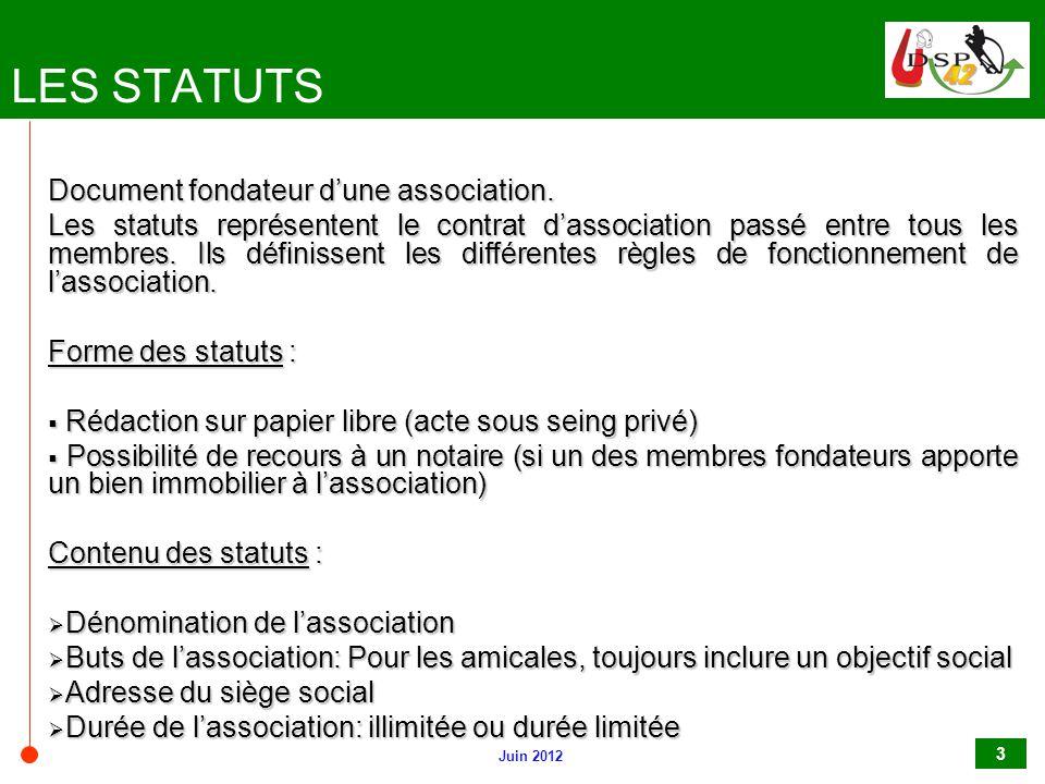 LES STATUTS Document fondateur d'une association.
