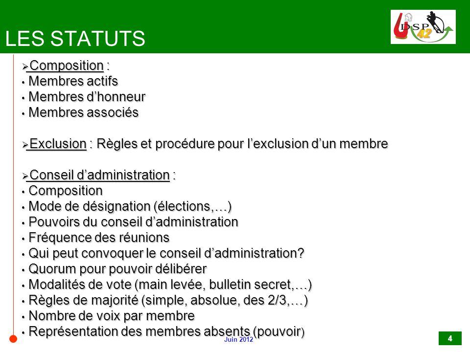 LES STATUTS Composition : Membres actifs Membres d'honneur