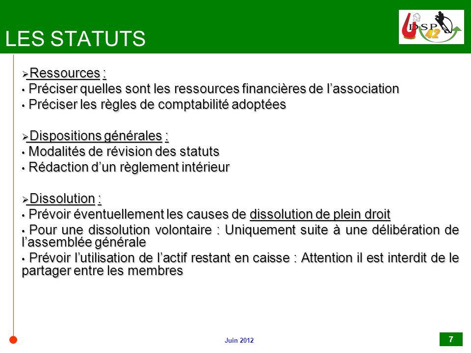 LES STATUTS Ressources :