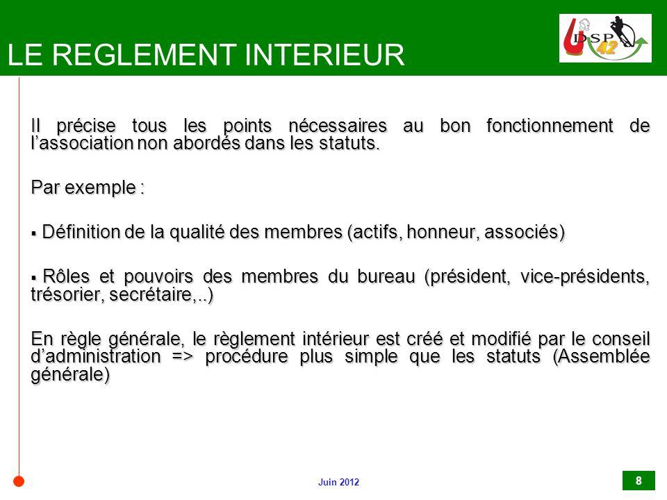Gestion des associations ppt video online t l charger for Exemple reglement interieur association
