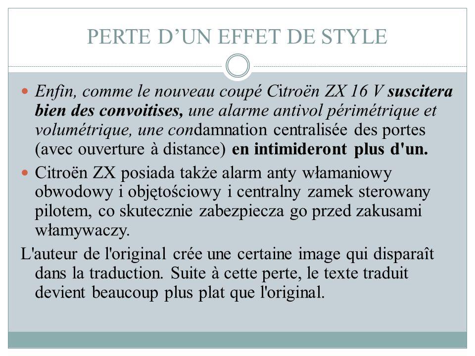 PERTE D'UN EFFET DE STYLE
