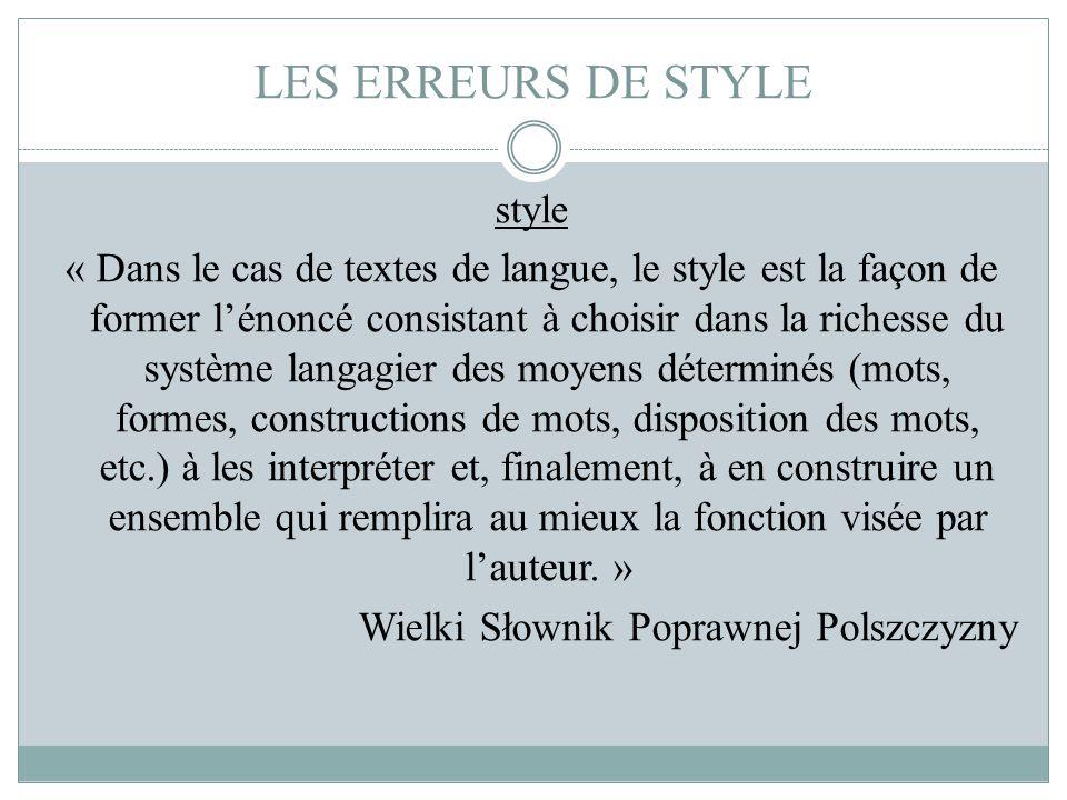 LES ERREURS DE STYLE style.