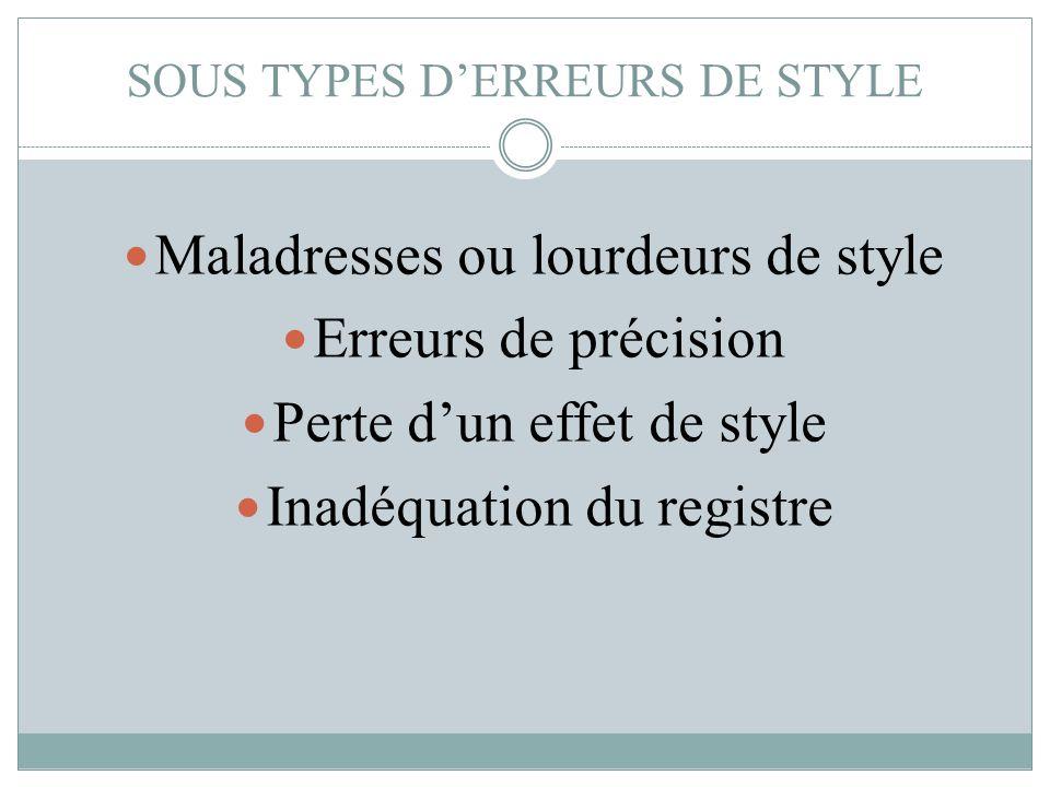 SOUS TYPES D'ERREURS DE STYLE