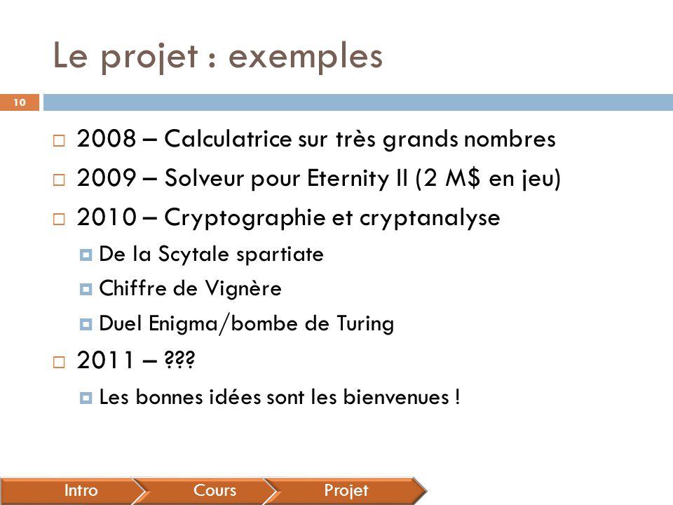 Le projet : exemples 2008 – Calculatrice sur très grands nombres