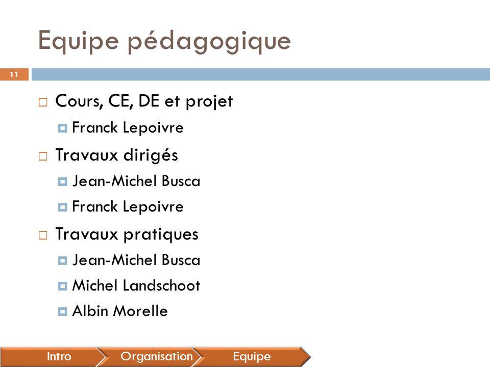 Equipe pédagogique Cours, CE, DE et projet Travaux dirigés