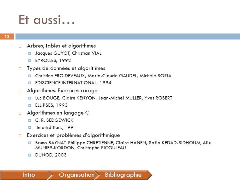 Et aussi… Intro Organisation Bibliographie