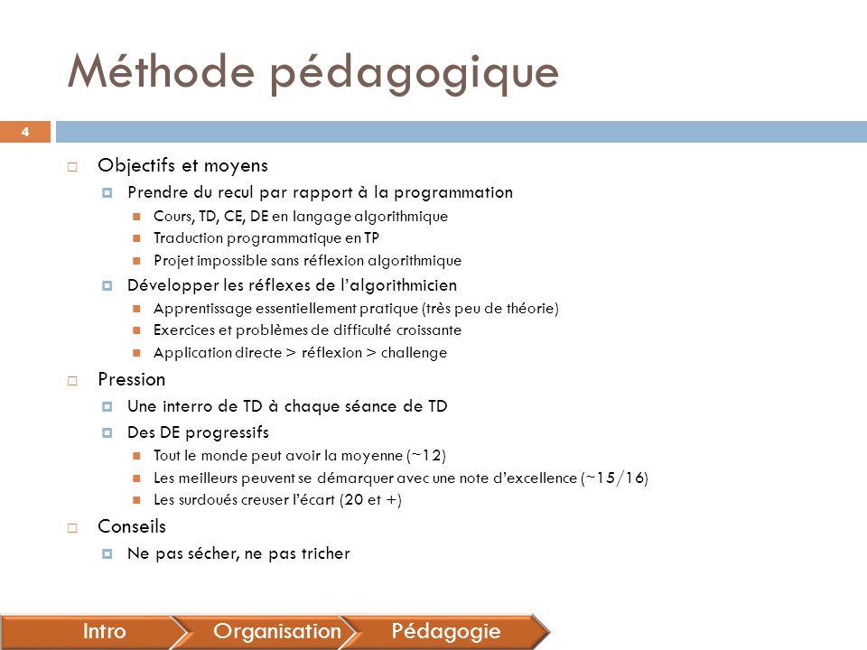 Méthode pédagogique Intro Organisation Pédagogie Objectifs et moyens