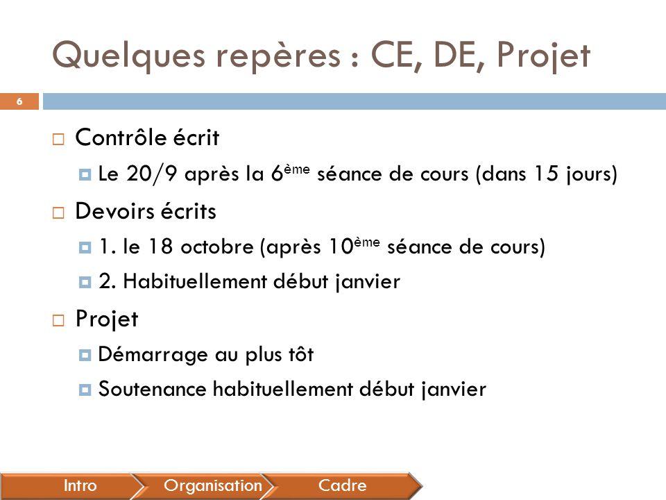 Quelques repères : CE, DE, Projet