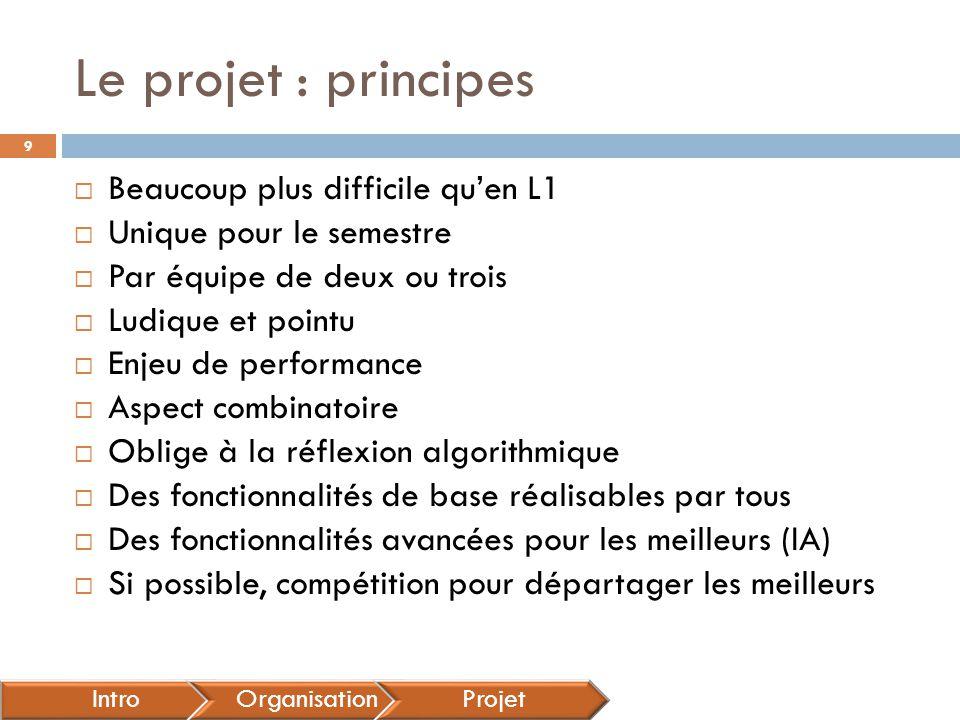 Le projet : principes Beaucoup plus difficile qu'en L1