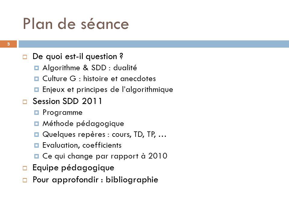 Plan de séance De quoi est-il question Session SDD 2011
