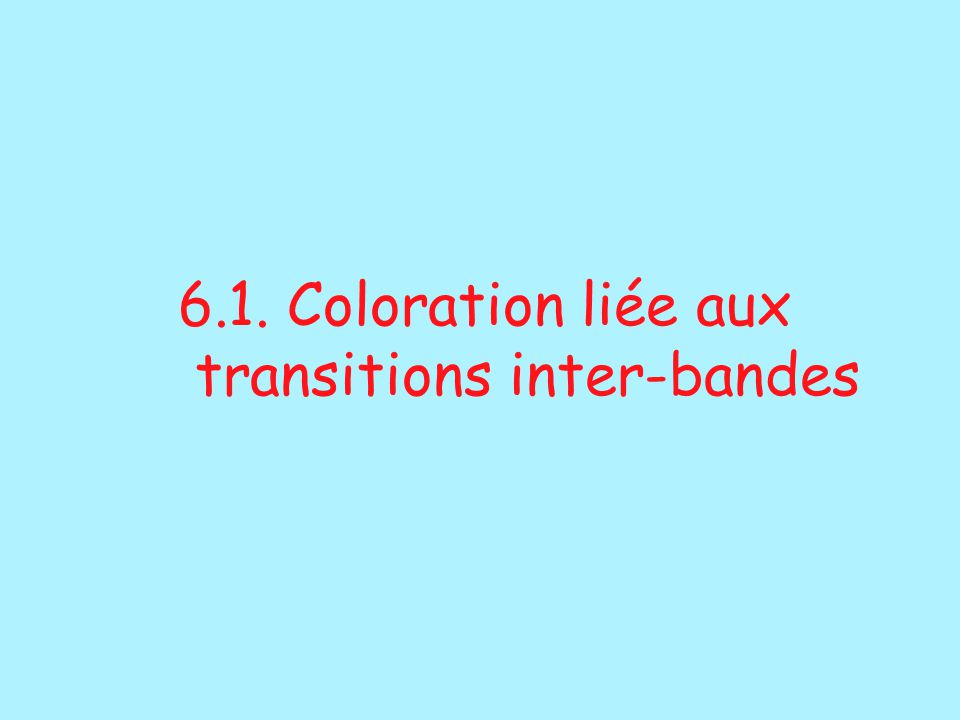 6.1. Coloration liée aux transitions inter-bandes