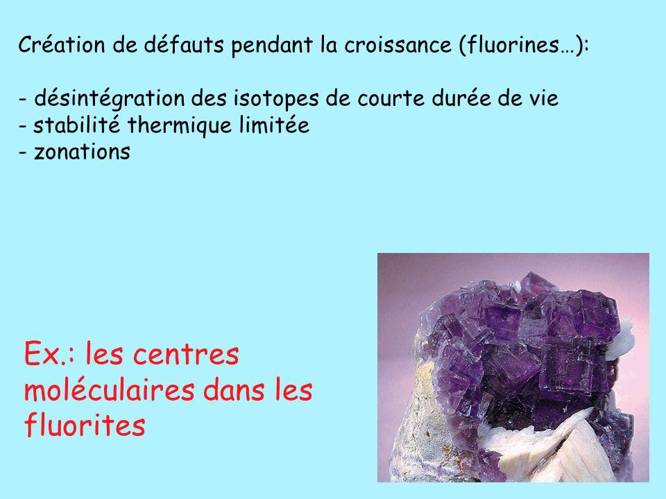 Ex.: les centres moléculaires dans les fluorites
