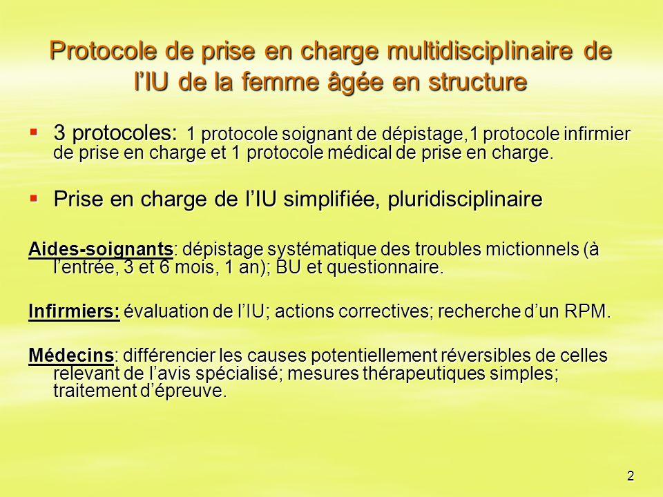 Protocole de prise en charge multidisciplinaire de l'IU de la femme âgée en structure
