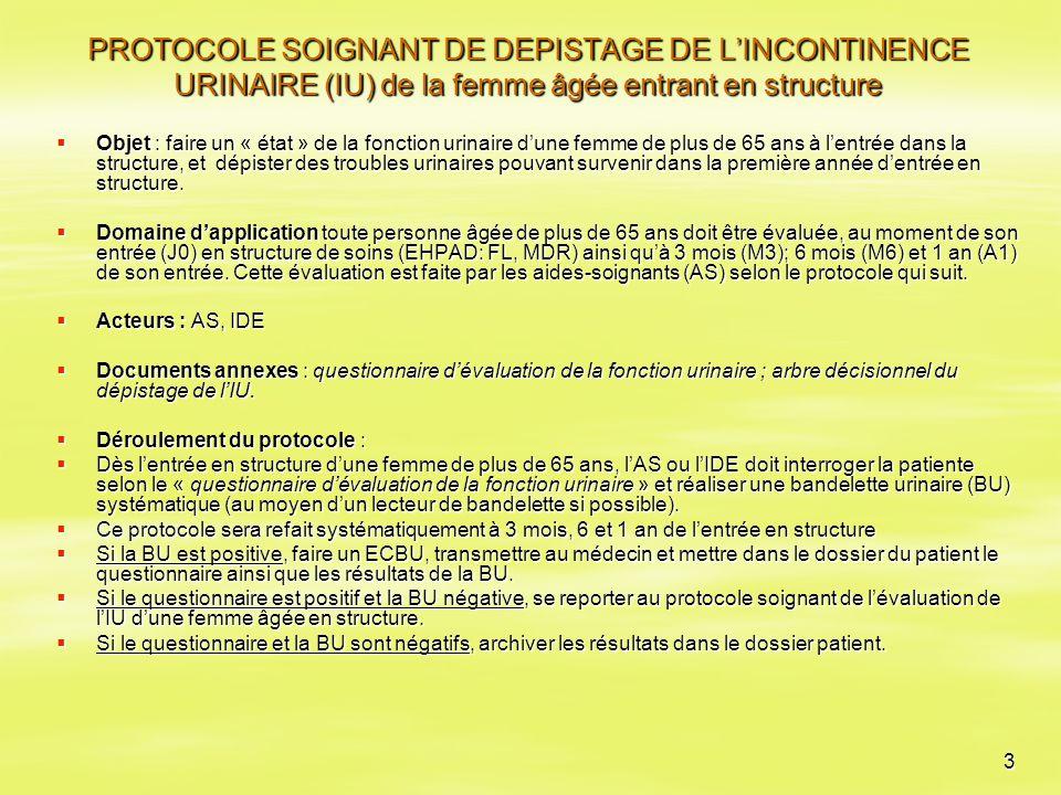 PROTOCOLE SOIGNANT DE DEPISTAGE DE L'INCONTINENCE URINAIRE (IU) de la femme âgée entrant en structure