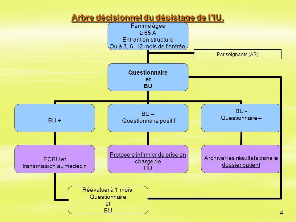 Arbre décisionnel du dépistage de l'IU.