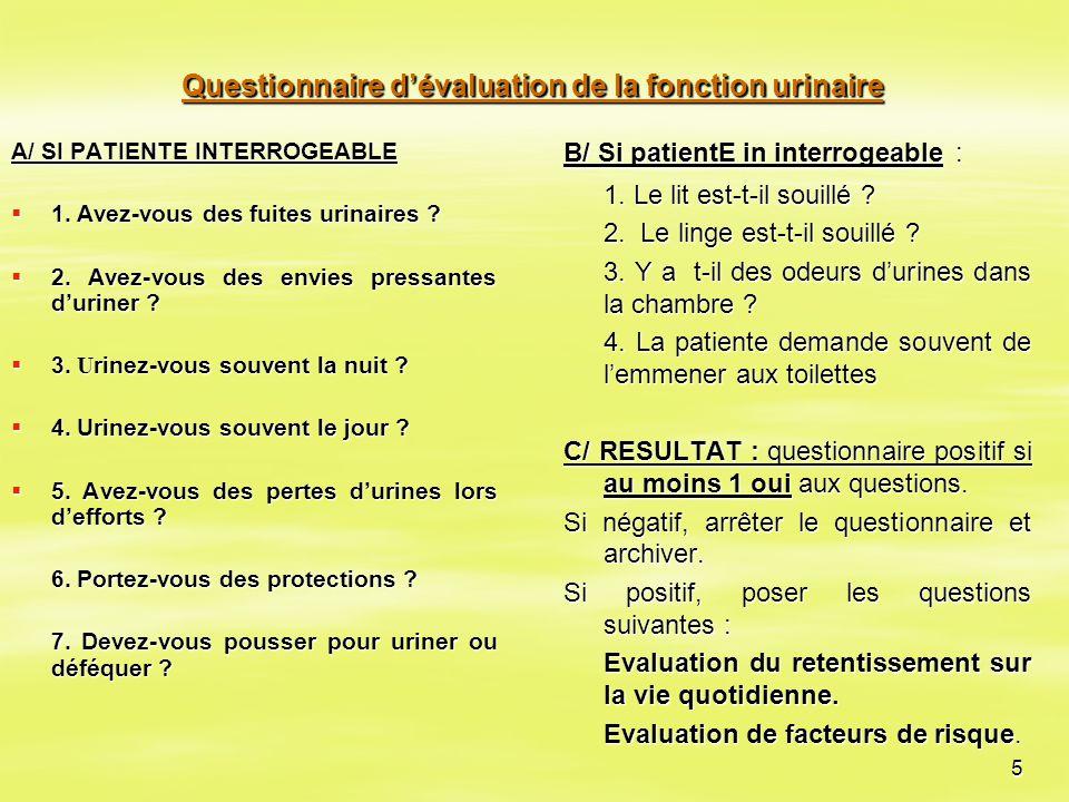 Questionnaire d'évaluation de la fonction urinaire