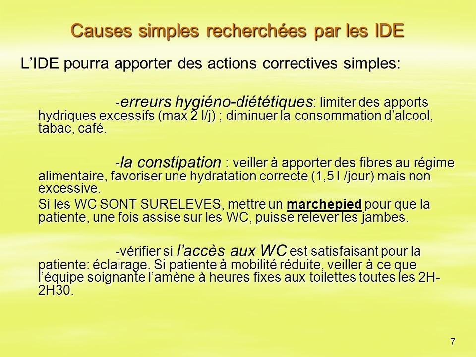 Causes simples recherchées par les IDE