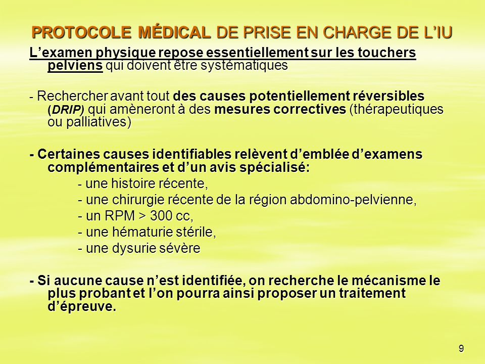 PROTOCOLE MÉDICAL DE PRISE EN CHARGE DE L'IU