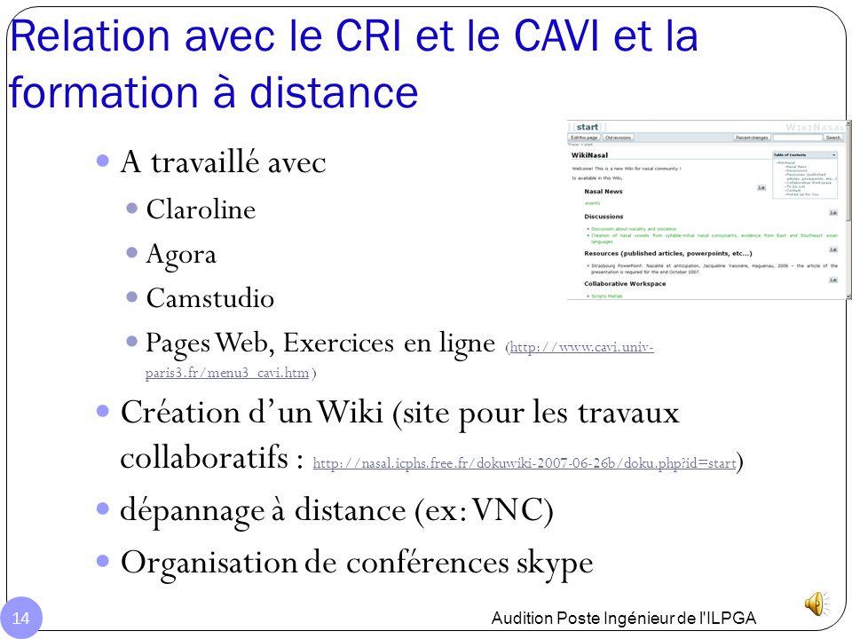 Relation avec le CRI et le CAVI et la formation à distance