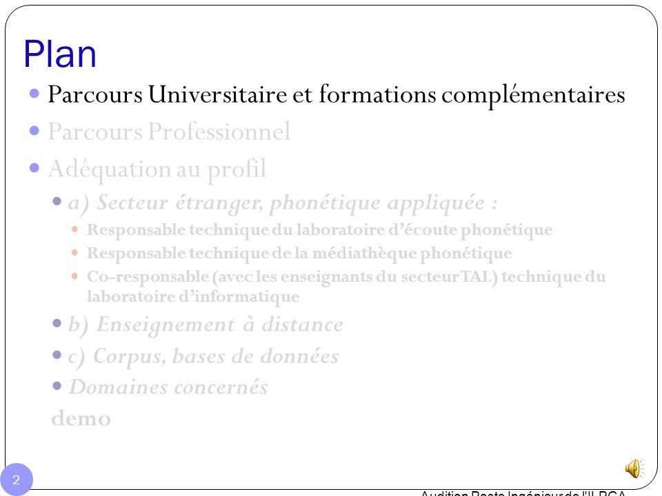Plan Parcours Universitaire et formations complémentaires