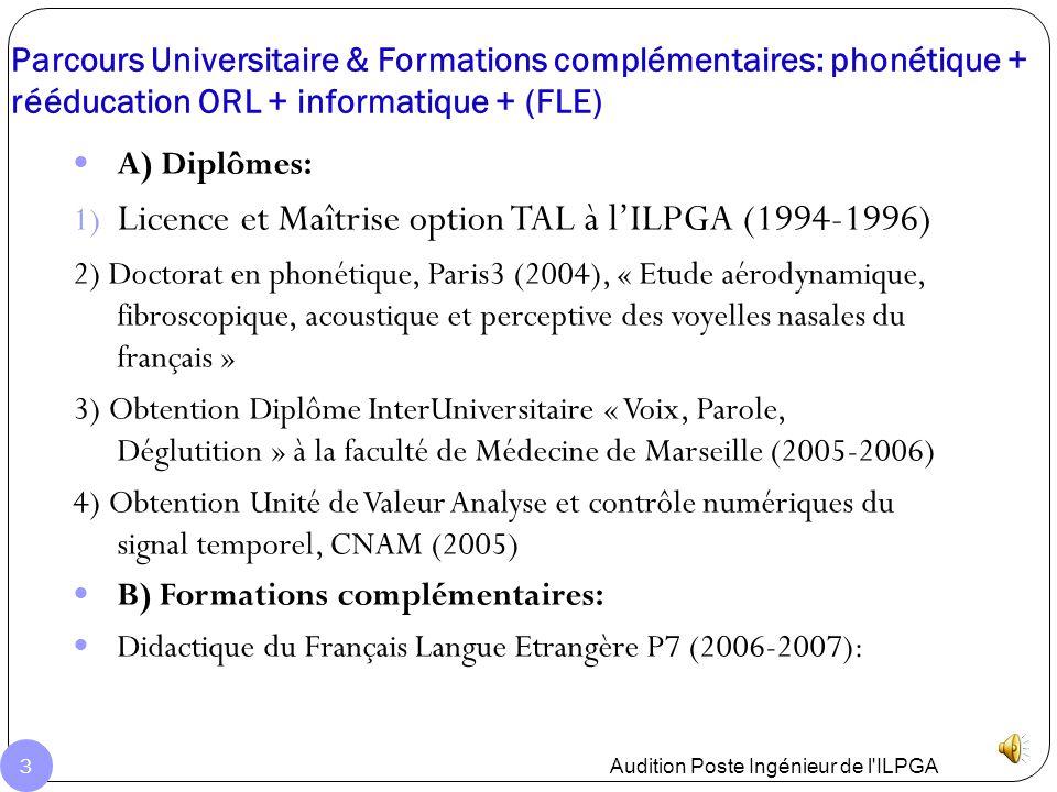 Licence et Maîtrise option TAL à l'ILPGA (1994-1996)