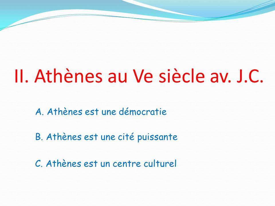 II. Athènes au Ve siècle av. J.C.
