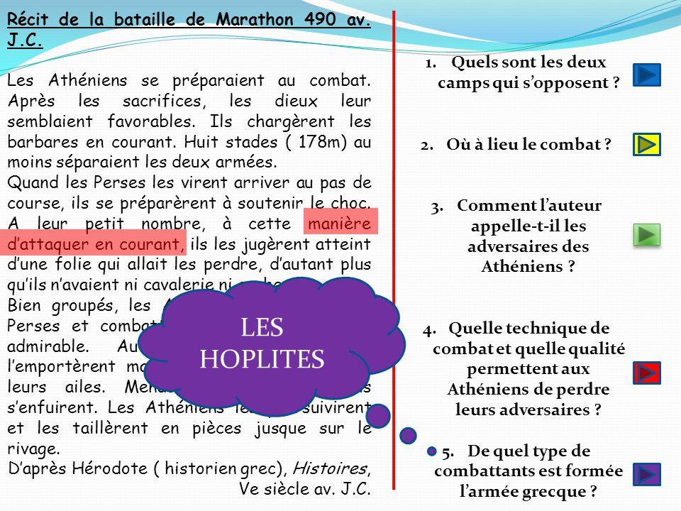 LES HOPLITES Récit de la bataille de Marathon 490 av. J.C.