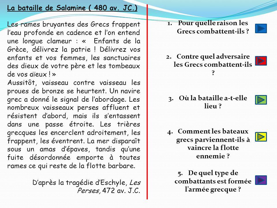 La bataille de Salamine ( 480 av. JC.)
