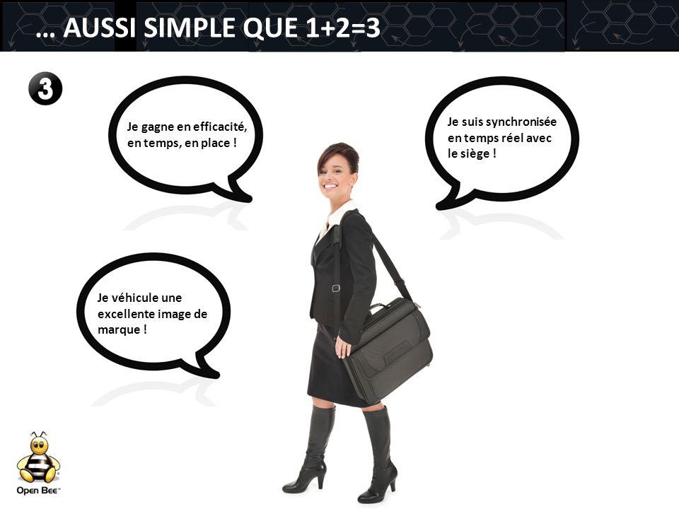 … AUSSI SIMPLE QUE 1+2=3 Je suis synchronisée en temps réel avec le siège ! Je gagne en efficacité, en temps, en place !