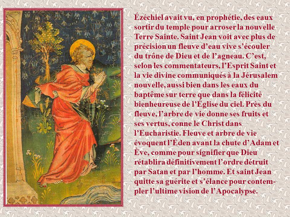 Ézéchiel avait vu, en prophétie, des eaux sortir du temple pour arroser la nouvelle Terre Sainte.