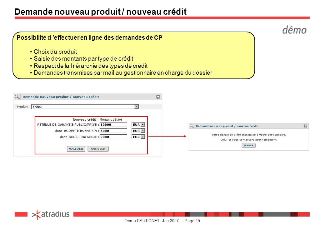 Demande nouveau produit / nouveau crédit