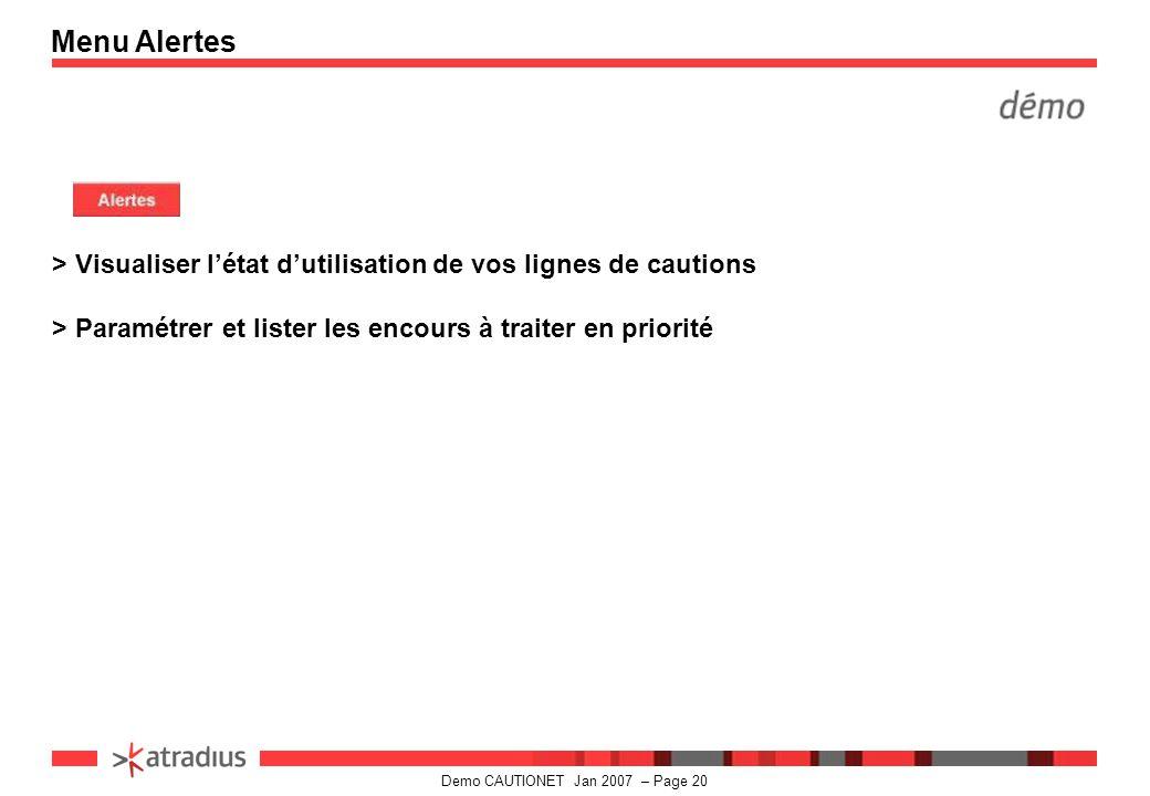 Menu Alertes > Visualiser l'état d'utilisation de vos lignes de cautions.