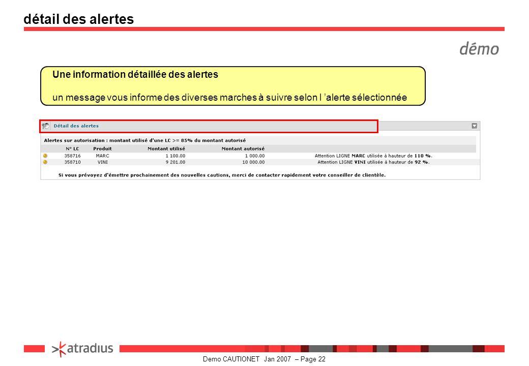 détail des alertes Une information détaillée des alertes