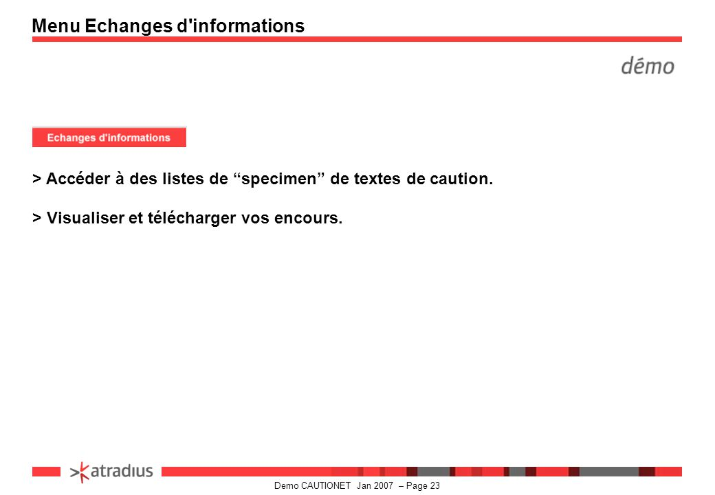 Menu Echanges d informations