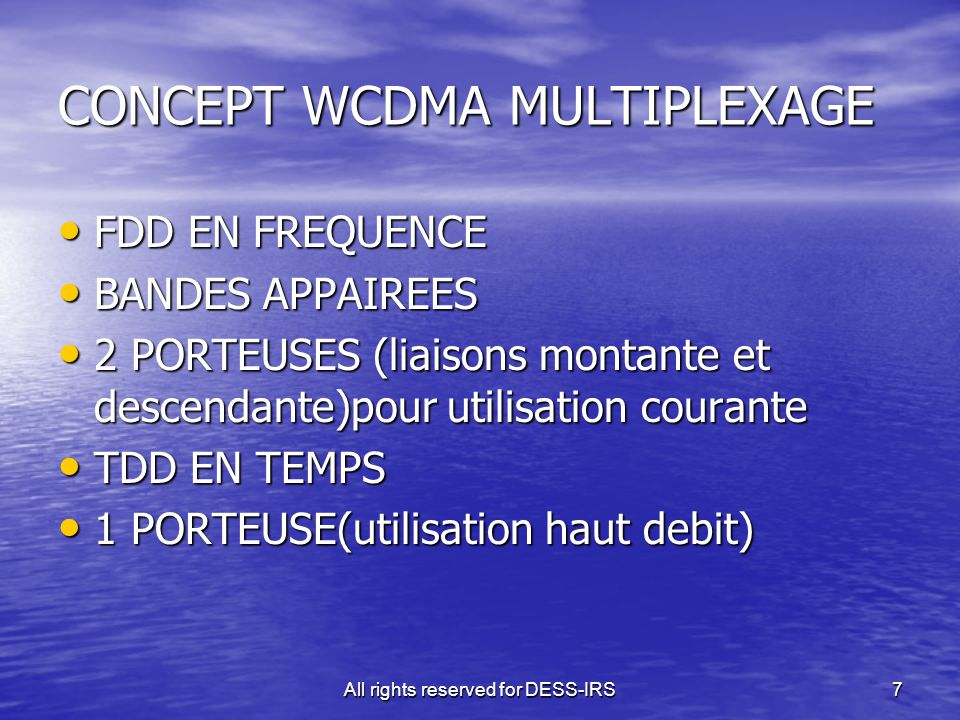 CONCEPT WCDMA MULTIPLEXAGE