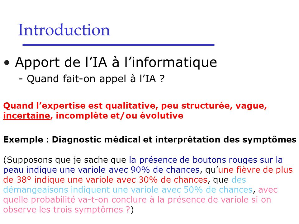 Introduction Apport de l'IA à l'informatique