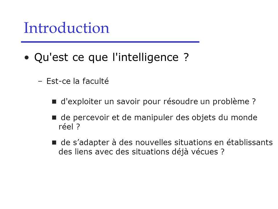Introduction Qu est ce que l intelligence Est-ce la faculté